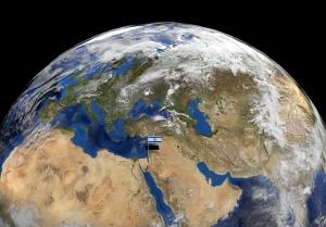 Israel flag on pole on earth globe illustration